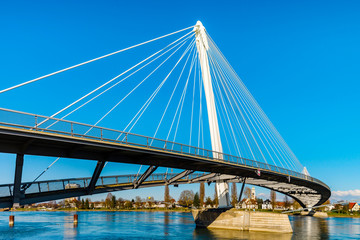 Passerelle pedestrian bridge over the Rhine between Kehl (Germany) and Strasbourg (France)