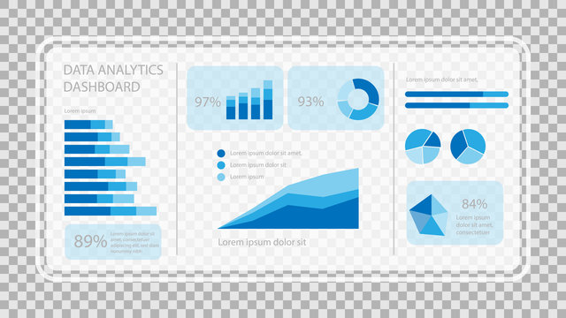 Virtual screen showing data analytics statistics chart dashboard, vector illustration