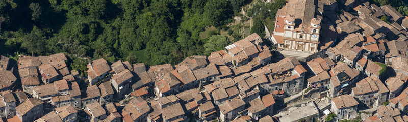 Aerial image of the town of Artena in the Metropolitan City of Rome