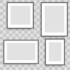 Set of black photo frames. Vector.