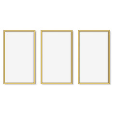 Set of gold square photo frames. Vector.