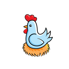 Chicken sitting in the nest cartoon illustration