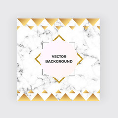 Cover minimalist placard, white marble or stone texture with gold geometric elements. Luxury templates for designs, banner, card, flyer, invitation, party, birthday, wedding,