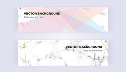 Geometric designs banner in gold, glitter, cream, light blue, pastel pink and marble texture background. Template for  designs, card, flyer, invitation, party, birthday, wedding, email, web