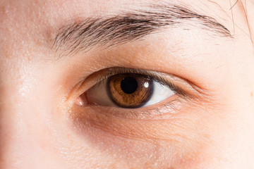 Close up of brown eye of caucasian young girl