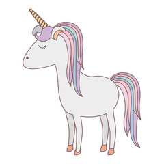 white background with cartoon unicorn standing with closed eyes and rainbow mane vector illustration
