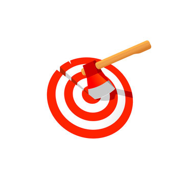 Axe in the target bullseye illustration