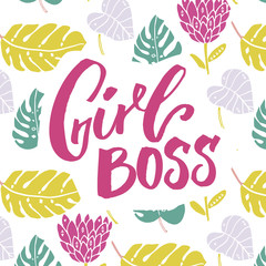 Girl boss. Feminism slogan, brush lettering inscription for t-shirt and apparel design, pink text on leaves and flowers background