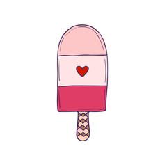 Ice Cream print. Cartoon doodle badge. Funny vector print.