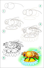 Page shows how to learn step by step to draw a bee. Developing children skills for drawing and coloring. Vector image.