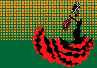 Flamenco dancer, sexy silhouette beautiful Spanish woman in long dress with traditional hand fan, vector isolated or green polka dots background