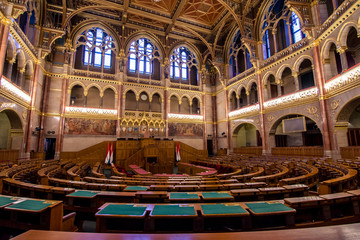 Interior view of Parliament Building in Budapest. The building was completed in 1905 and is in Gothic Revival style.