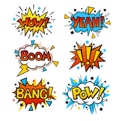 Set of cartoon, speech bubbles with words. Background in pop art style. Retro colorful comic speech bubbles set with halftone shadows. BANG, WOW, YEAH, BOOM, POW