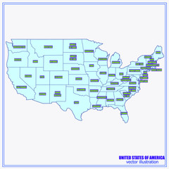 United States of America Vector Map. Illustration.