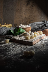 Raw gnocchi, typical Italian made of potato, flour and egg dish.