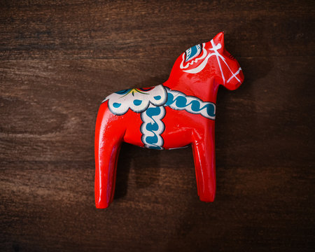 Red Traditional Wood Carved Swedish Horse