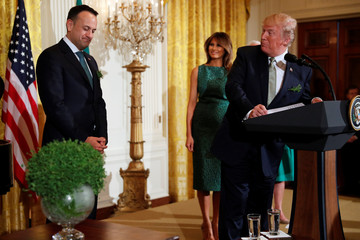 U.S. President Donald Trump plays host to Ireland's Prime Minister, Taoiseach Leo Varadkar during a St. Patrick's Day reception at the White House