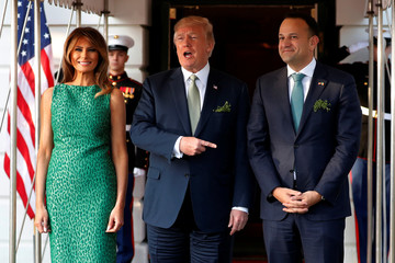 U.S. President Donald Trump and first lady Melania Trump welcome Ireland's Prime Minister, Taoiseach Leo Varadkar for a St. Patrick's Day reception at the White House