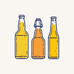 Three different form of beer bottles without labels isolated on light background. Vector illustration.