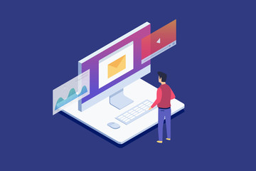 Man standing looks at Lcd monitor. Data analysis, checking email, watching video files.Digital technologies, computer device. 3d isometric flat design. Vector illustration.