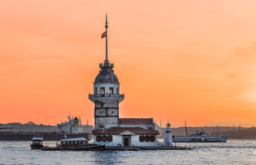 Maiden's tower in Istanbul, Turkey. Maiden tower is famous iconic landmark midland the Bosporus channel.