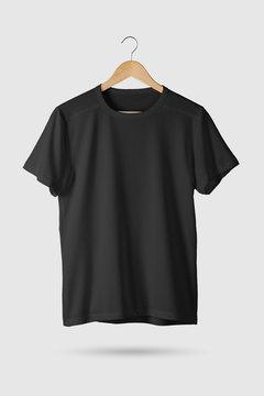 Black T-Shirt Mock-up on wooden hanger, front side view. 3D Rendering.