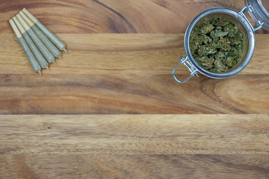 Cone joints with weed in glass jar