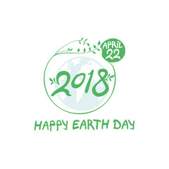 Concept 2018 Earth Day. April 22. Happy Earth Day poster. Round green vector template earth ball with hand drawn lettering isolated on white background.