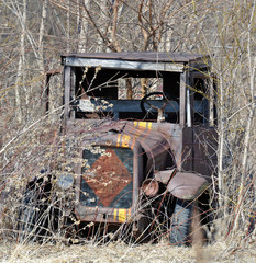 Antique truck left to waste away in the weeds