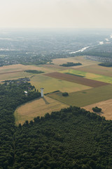 Aerial image of countryside landscape with Seine river at the outskirts of Paris