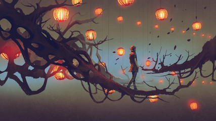 man walking on a tree branch with many red lanterns on background, digital art style, illustration painting Wall mural