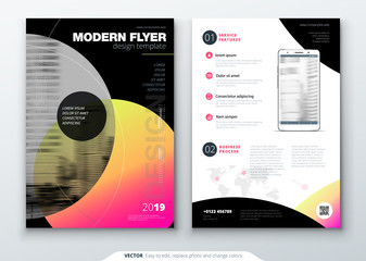 Flyer template layout design. Business flyer, brochure, magazine or flyer mockup in bright colors with circle round shapes. Vector abstract design