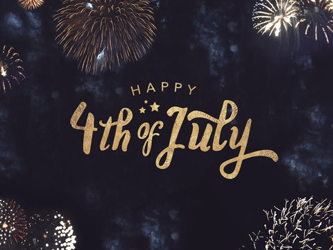 Happy 4th of July Celebration Text with Festive Gold Fireworks Collage in Night Sky