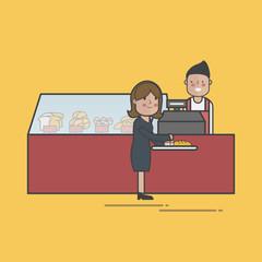 Illustration of bakery shop