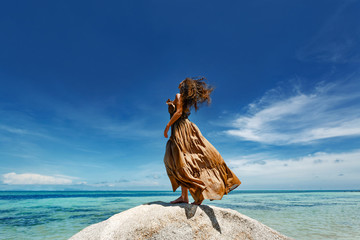 beautiful young woman in elegant dress on the beach Wall mural