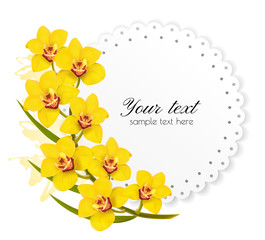 Beautiful gift card with yellow flowers. Vector