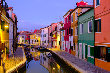 Foto op Aluminium Venetie Night on the Burano island