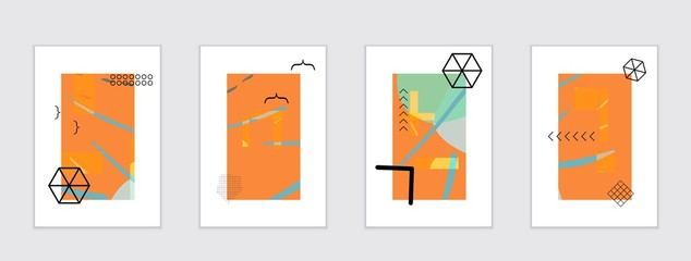 Set of artistic abstract universal card templates