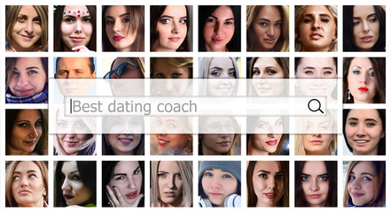 Best dating coach. The text is displayed in the search box on the background of a collage of many square female portraits. The concept of service for dating