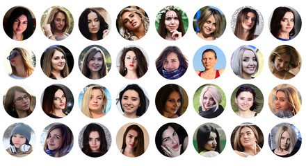 Collage group portraits of young caucasian girls for social media network. Set of round female avatar isolated on a white background