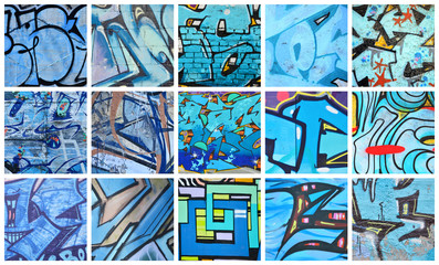 A set of many small fragments of graffiti drawings. Street art abstract background collage in blue colors