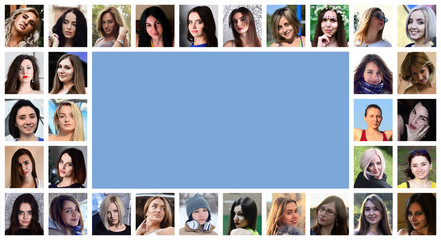 Collage group portraits of young caucasian girls for social media network. Set of round female pics isolated on a white background with copy space
