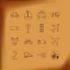 Transport Line Icon Set with motorcycle , sailing, tractor  and sportbike
