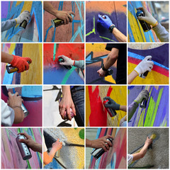 A set of many small images of hands with paint cans in the process of drawing graffiti. Street art abstract background collage