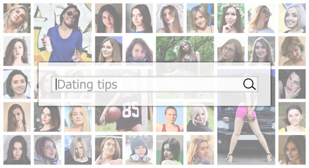 Dating tips. The text is displayed in the search box on the background of a collage of many square female portraits. The concept of service for dating