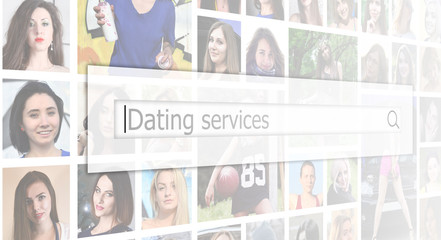 Dating services. The text is displayed in the search box on the background of a collage of many square female portraits. The concept of service for dating