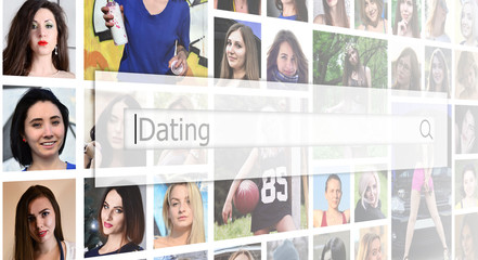 Dating. The text is displayed in the search box on the background of a collage of many square female portraits. The concept of service for dating
