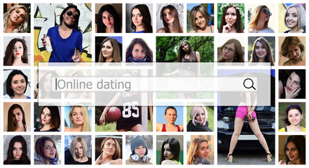 Online dating. The text is displayed in the search box on the background of a collage of many square female portraits. The concept of service for dating
