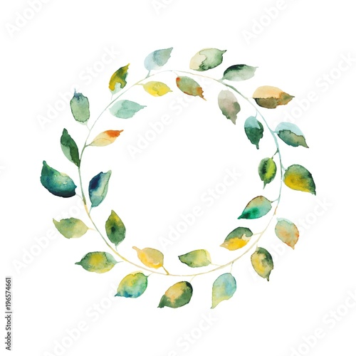 Round Wreath With Watercolor Green Leaves And Branches Floral Frame