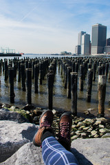 Sitting by the water looking over New York City